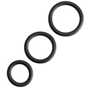 2 runde sorte penisringe i 3 forskellige størrelser